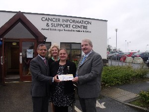 Professor Gupta UHL; Maria Keane, Cancer Support Centre; Dorothy Thomas, Irish Cancer Society and Cathaoirleach Cllr Kevin Sheahan