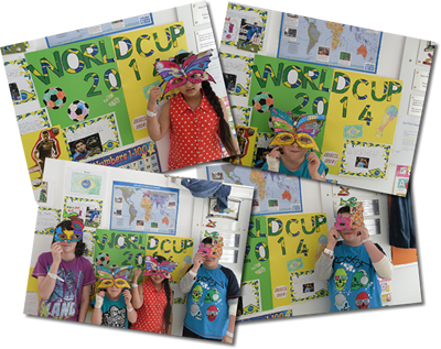 Children attending the Children's Ark School get into the spirit of the World Cup by designing masks for the carnival opening in Brazil. The children also spent time researching Brazil and the many teams taking part.