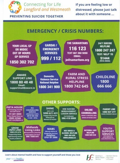 Longford Westmeath Emergency Crisis Numbers poster