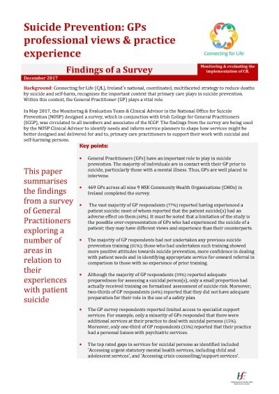 Suicide Prevention, GPs Survey Cover