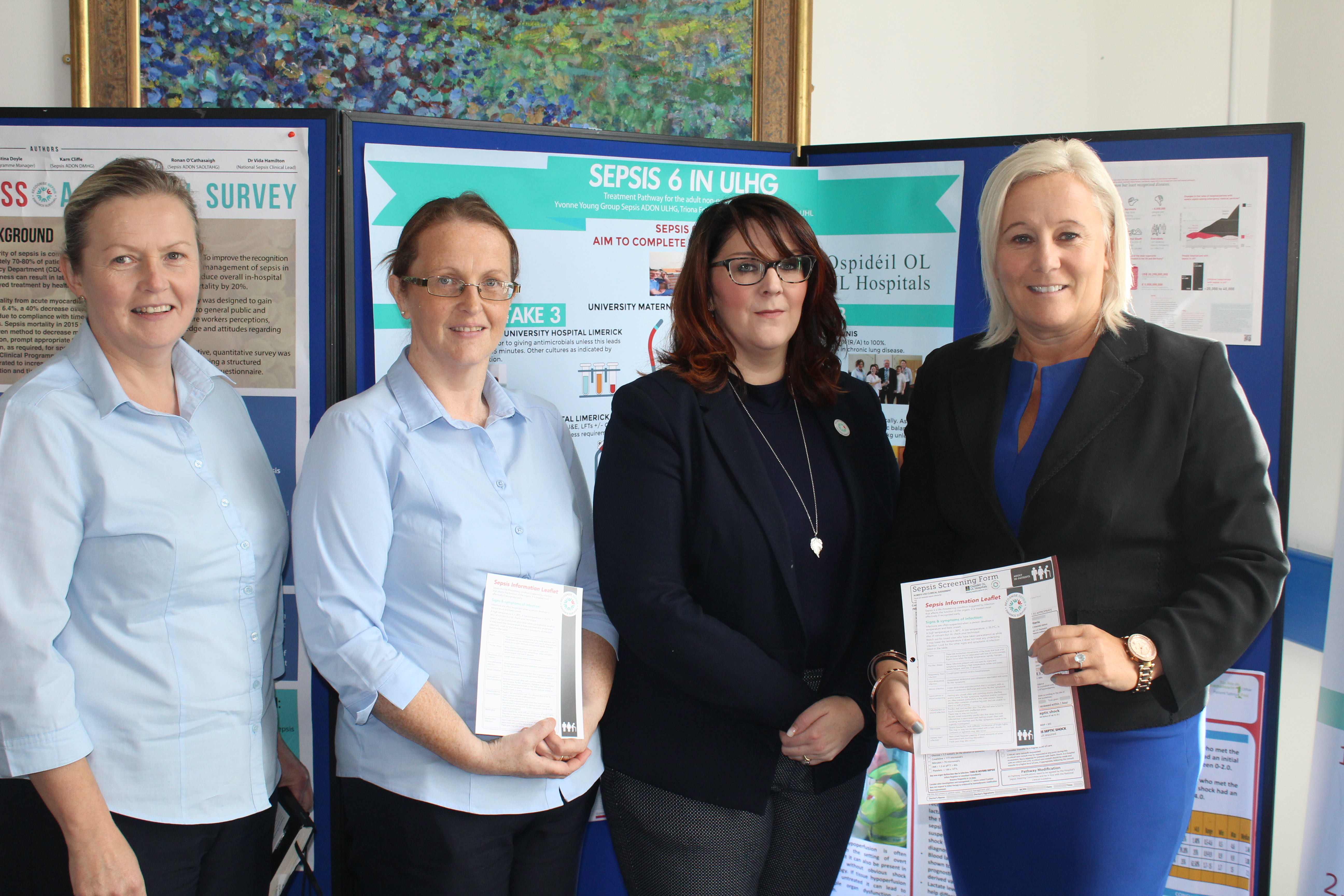 Raising awareness at UHL as part of World Sepsis Day were Mary P Fitzgerald,Clinical Nurse Manager 2; Triona Foley ,Clinical Facilitator, Perioperative Directorate; Yvonne Young, Group Sepsis Lead and Prof Colette Cowan, CEO, UL Hospitals Group